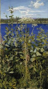 Painting entitled Wild Alexandria by Finnish painter Akseli Gallen-Kallela an invasive weed with a backdrop of blue water and sky